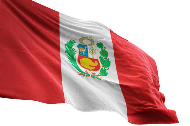 Peru flag close-up waving isolated white background stock photo