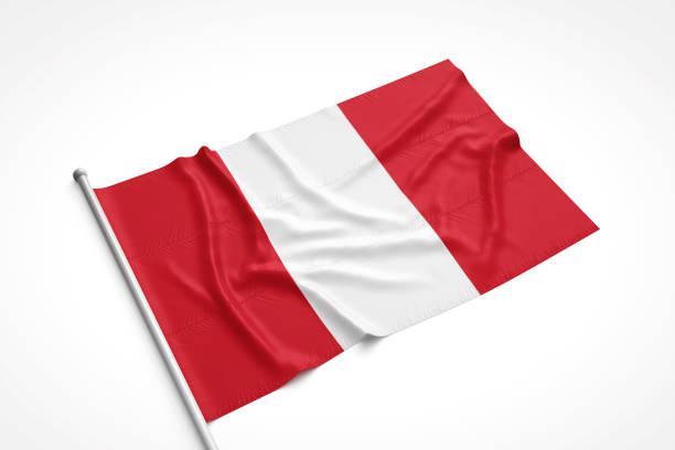 Bandera de Perú es recostado sobre una superficie blanca - foto de stock