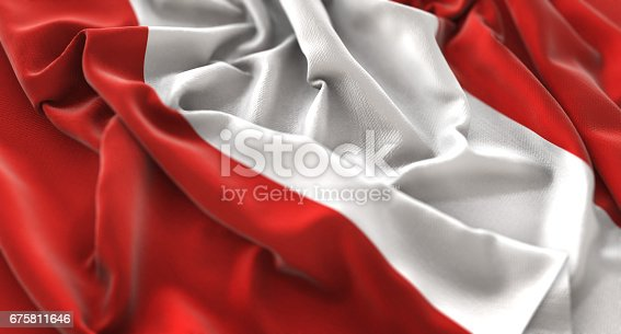 istock Peru Flag Ruffled Beautifully Waving Macro Close-Up Shot 675811646