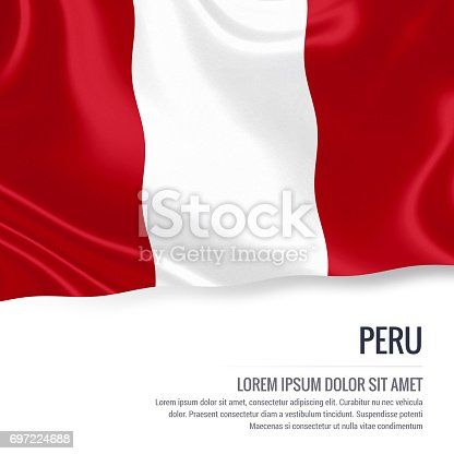 istock Peru flag. Silky flag of Peru waving on an isolated white background with the white text area for your advert message. 3D rendering. 697224688