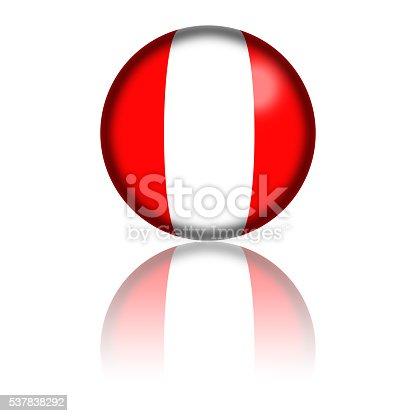 istock Peru Flag Sphere 3D Rendering 537838292