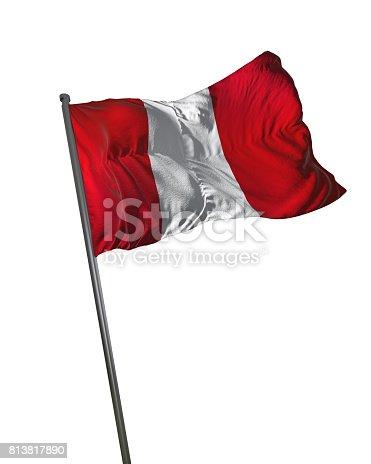 istock Peru Flag Waving Isolated on White Background Portrait 813817890