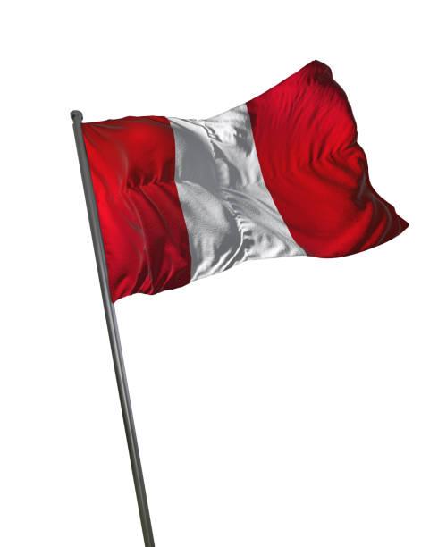 Perú bandera ondeando aislado en fondo blanco retrato - foto de stock