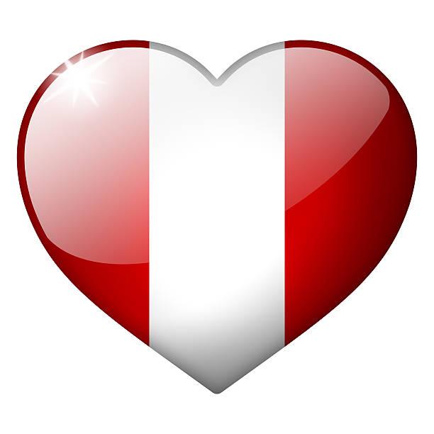 Perú corazón botón - foto de stock