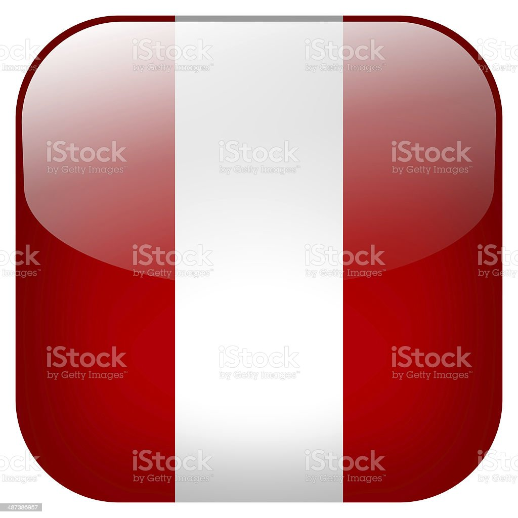 Peru national flag square button isolated on white background stock photo