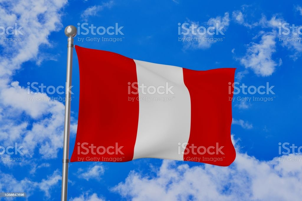 Peru national flag waving isolated in the blue cloudy sky stock photo