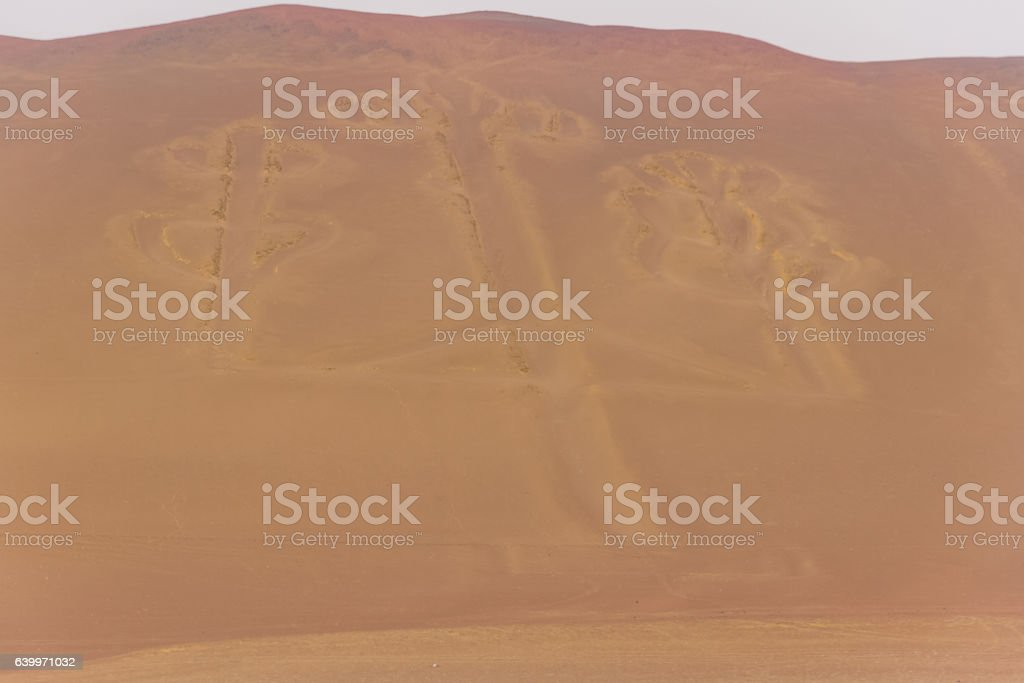 Peru, Paracas, Ballestas Islands. 'El Candelabro'. stock photo