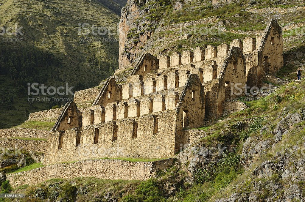 Peru, Sacred Valley, Ollantaytambo Inca fortress stock photo