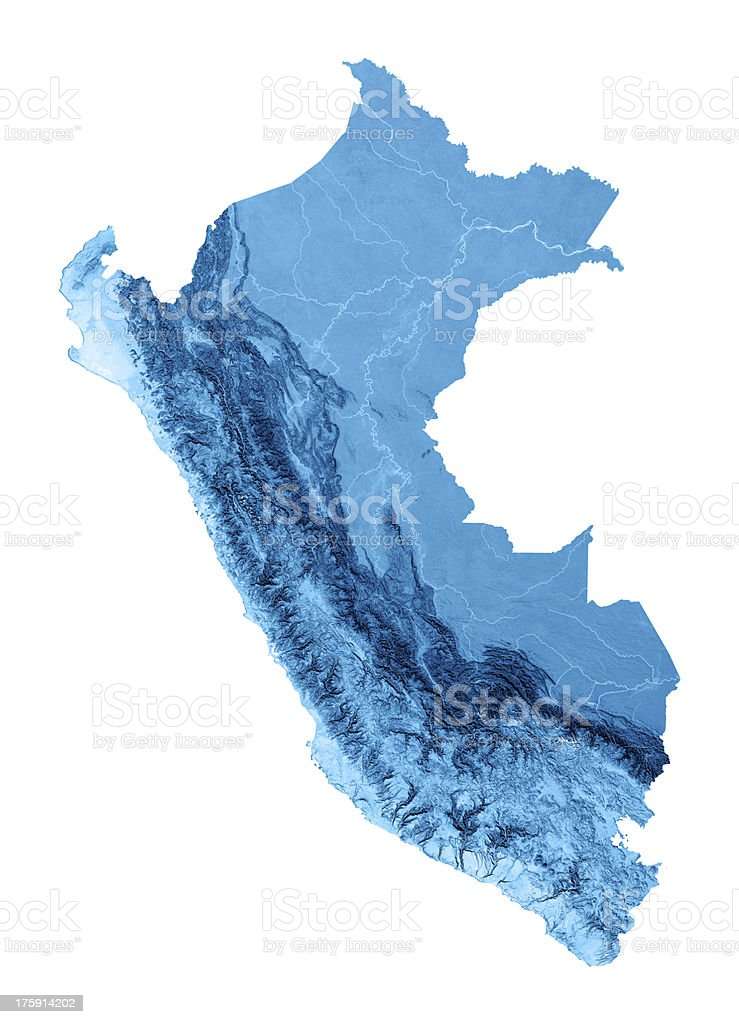 Peru Topographic Map Isolated royalty-free stock photo