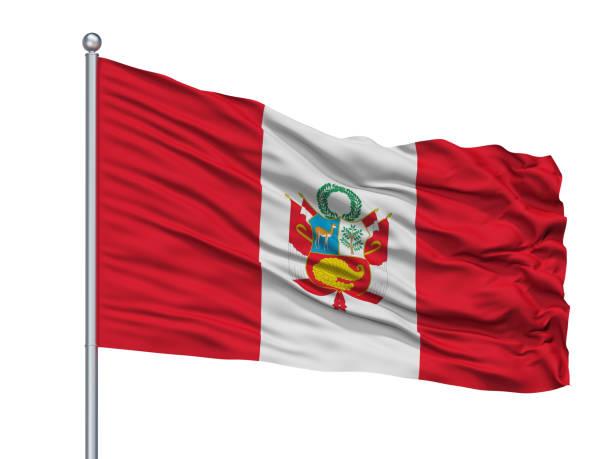 Bandera de guerra del Perú en asta, aislado en blanco - foto de stock