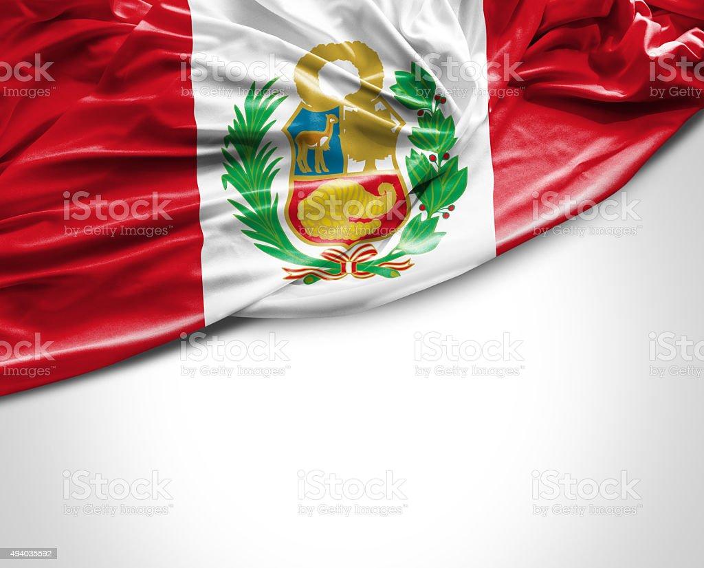 Peru waving flag on white background stock photo