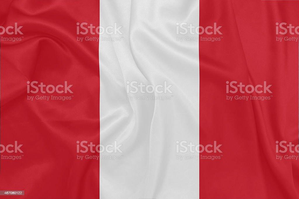 Peru - Waving national flag on silk texture stock photo