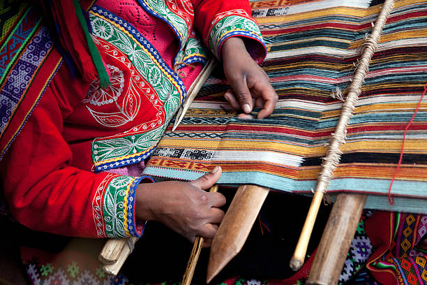 peru - weaving - peruvian ethnicity stock pictures, royalty-free photos & images