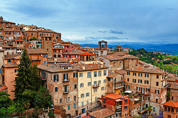 Perugia Bird's Eye View to Historic Center City of Perugia, Italy umbria stock pictures, royalty-free photos & images