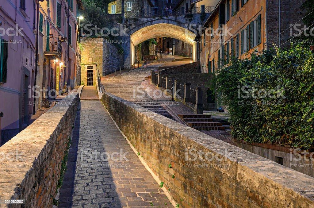 Perugia Via dell Acquedotto stock photo