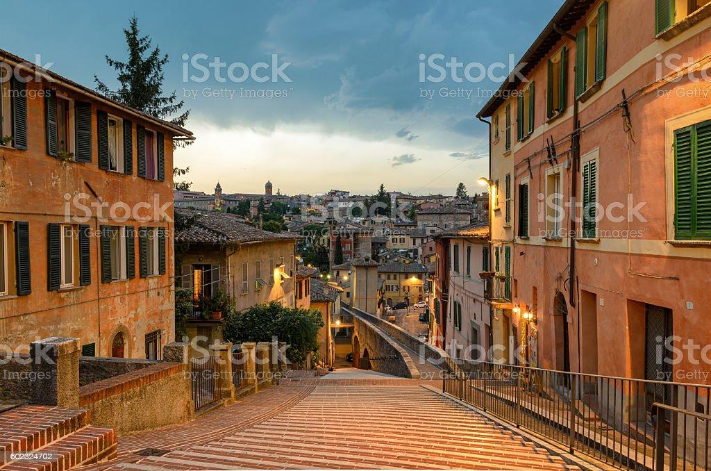 Perugia - Via dell'Acquedotto (Aqueduct street) stock photo
