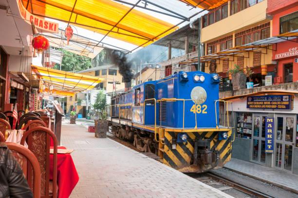 Perurail Train In Aguas Calientes, Peru stock photo