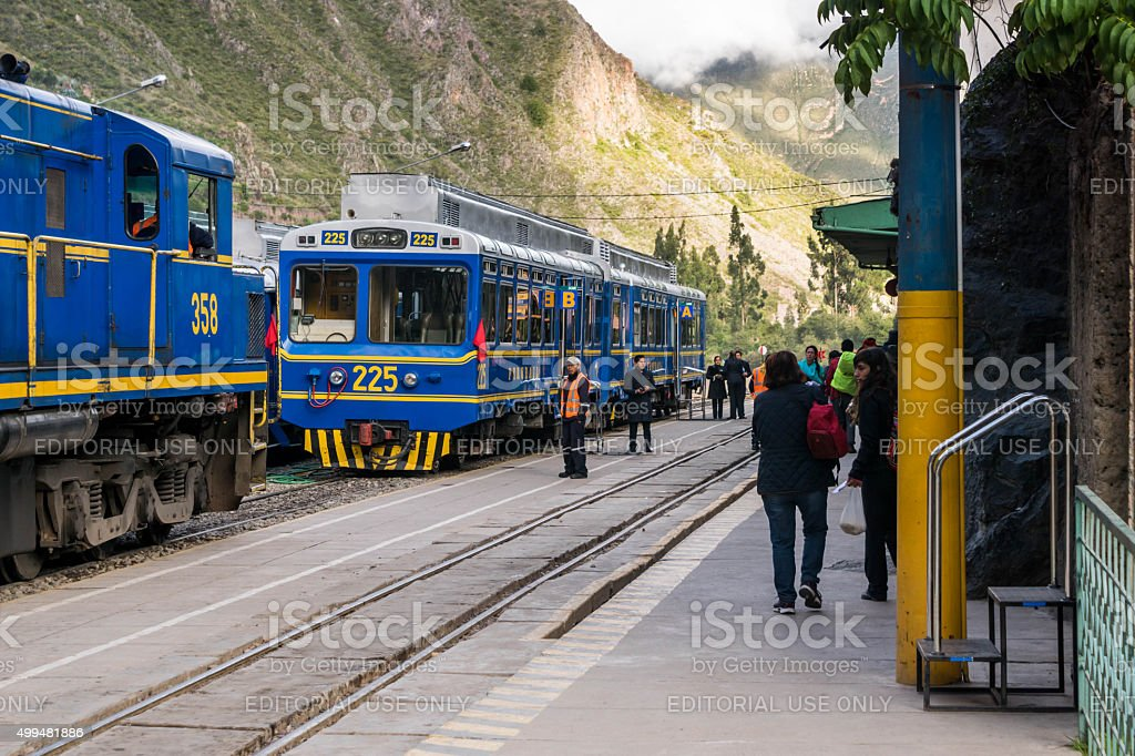 Perurail trains are about to take passengers to Machu Picchu stock photo