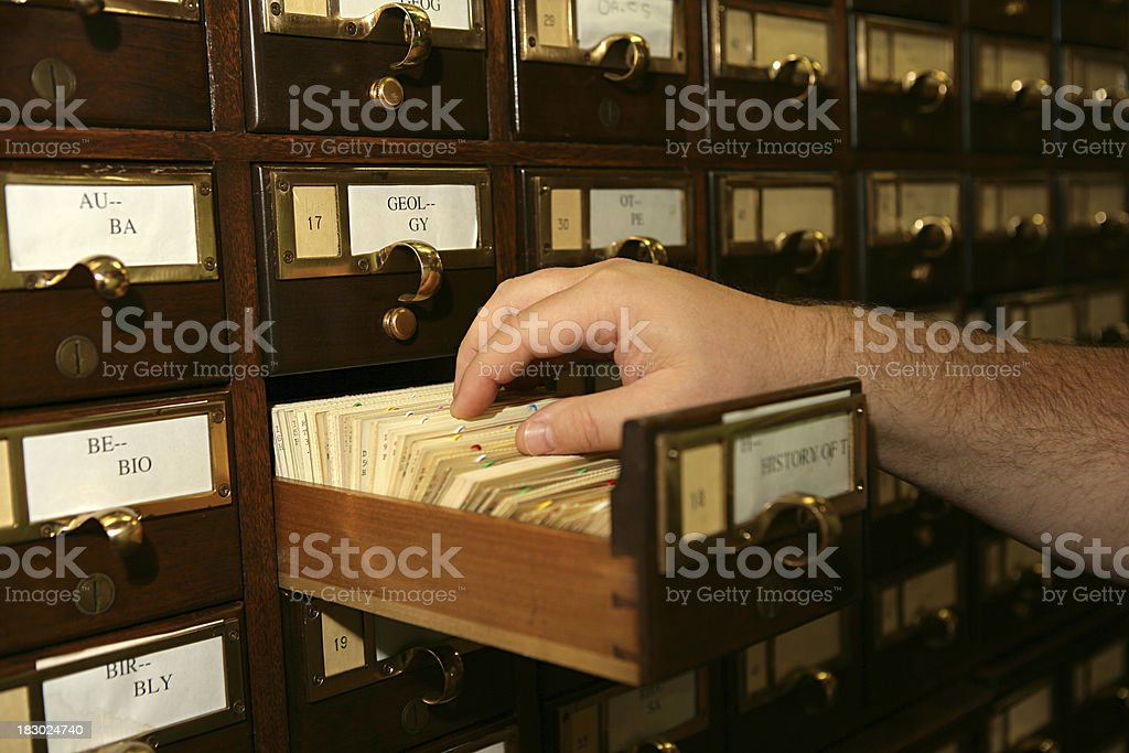 Perusing Card File royalty-free stock photo