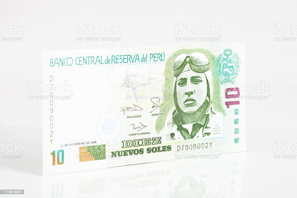 Peruvian 10 Nuevos Soles Note stock photo