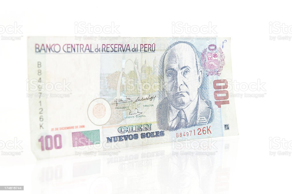 Peruvian 100 Nuevos Soles Note stock photo