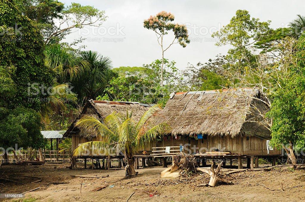 Peruvian Amazonas, Indian settlement stock photo