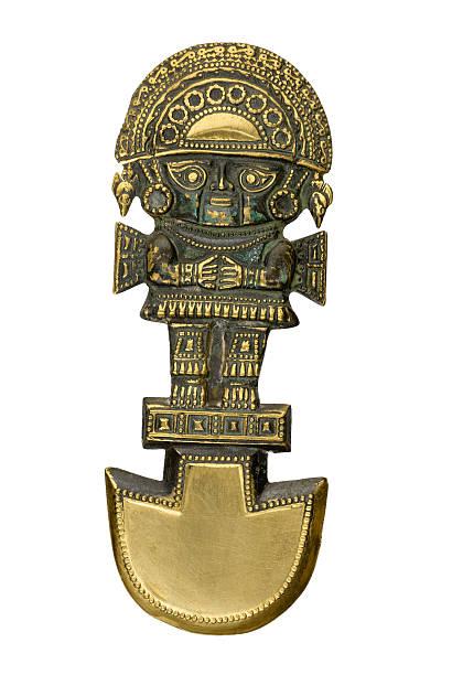 ペルーの古代から伝わる儀式用ナイフ白背景 - インカ ストックフォトと画像