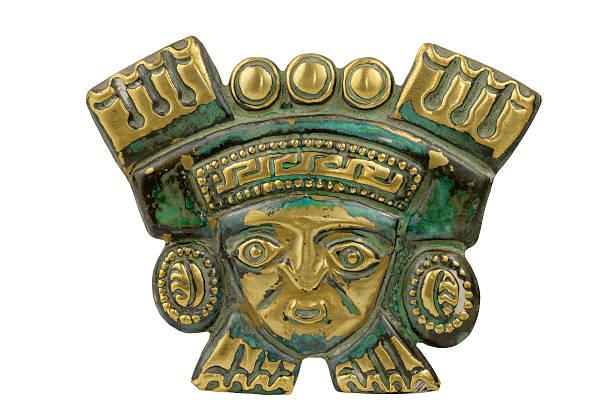 ペルーの古代式のマスクで分離白背景 - インカ ストックフォトと画像