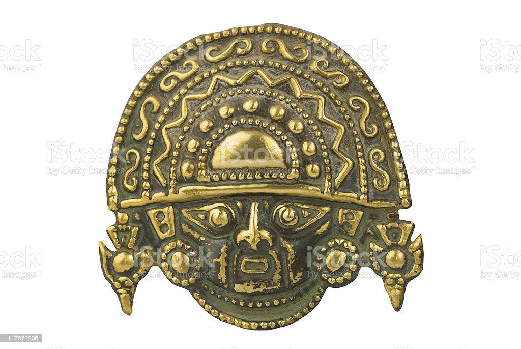 Peruvian ancient ceremonial mask stock photo