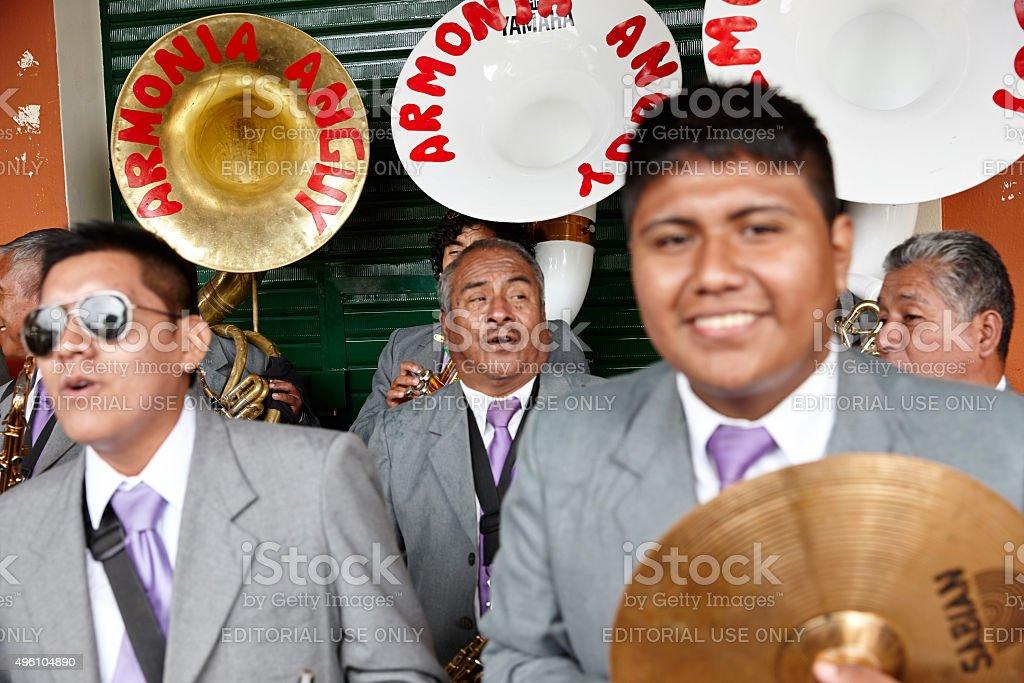 Peruvian band playing on street stock photo