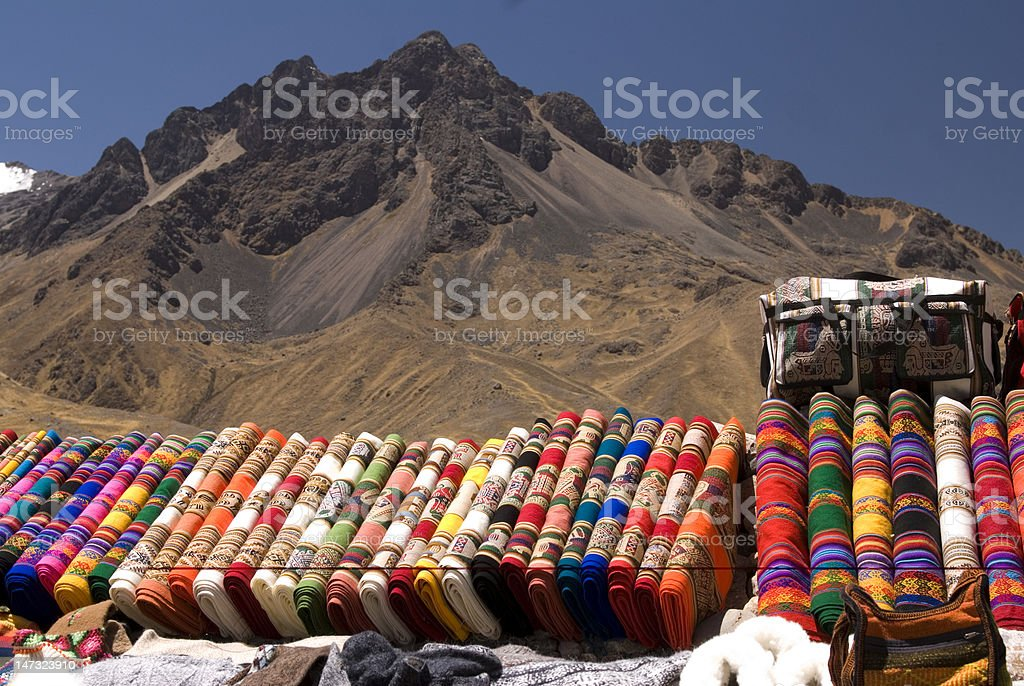 Peruvian blankets stock photo