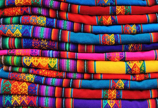 Peruvian Brightly Coloured Woven Andean Textiles stock photo