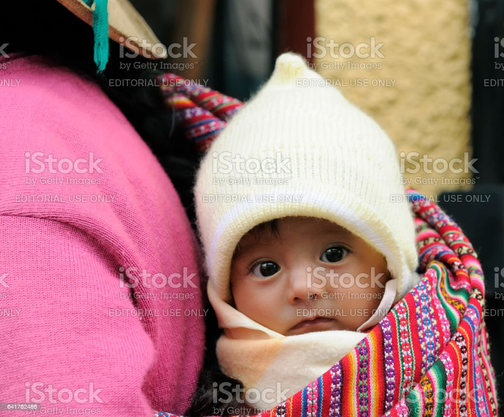Peruvian children in traditional scarf stock photo