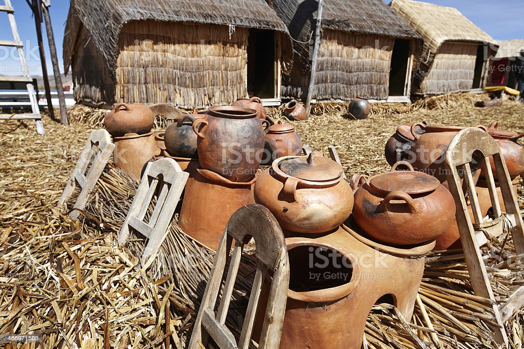 Peruvian clay pots for sale royalty-free stock photo
