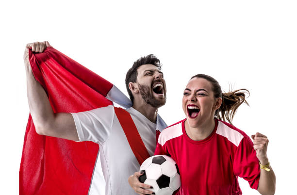 peruvian couple fan celebrating on white background - peruvian ethnicity stock pictures, royalty-free photos & images