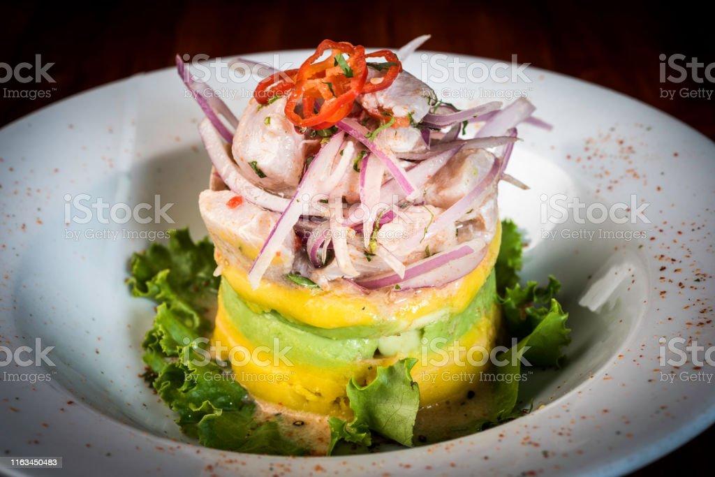Cocina Peruana Cebiche Causa Rellena Y Ceviche De Pescado Foto De Stock Y Mas Banco De Imagenes De Alimento Istock