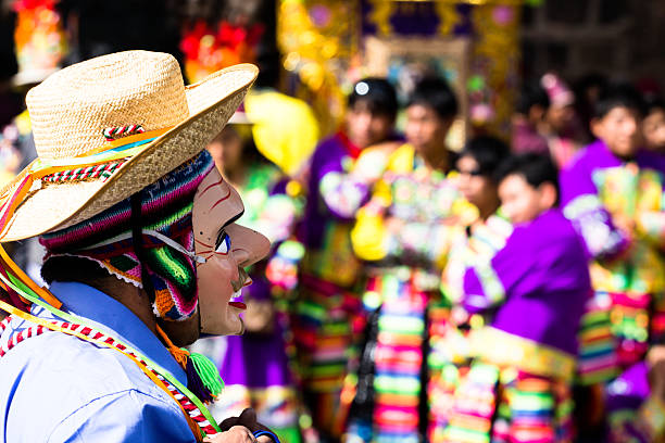 peruvian dancers at the parade in cusco. - traditional ceremony stock pictures, royalty-free photos & images