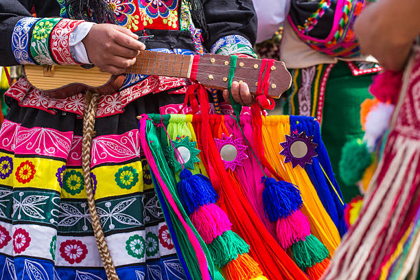 peruvian dancers at the parade in cusco. - cultures stock pictures, royalty-free photos & images