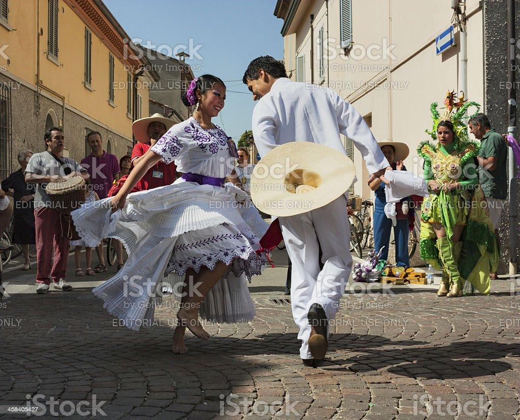 peruvian dancers stock photo