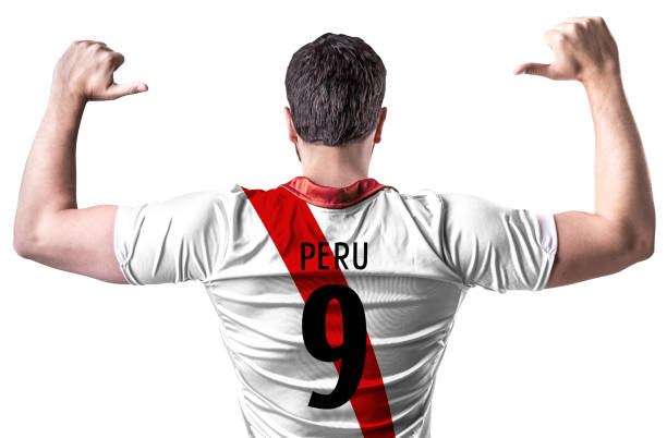 peruvian fan / player celebrating - peruvian ethnicity stock pictures, royalty-free photos & images