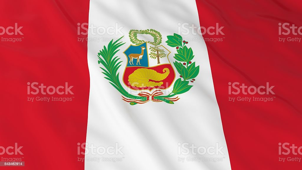 Peruvian Flag HD Background - Flag of Peru 3D Illustration stock photo