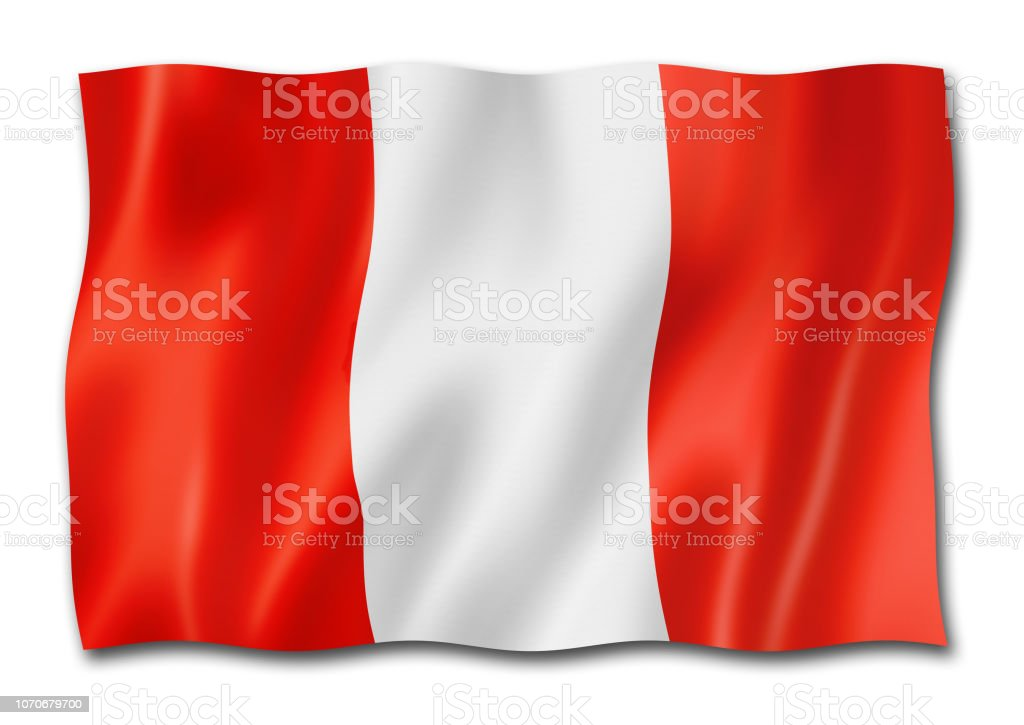 peruvian flag isolated on white stock photo