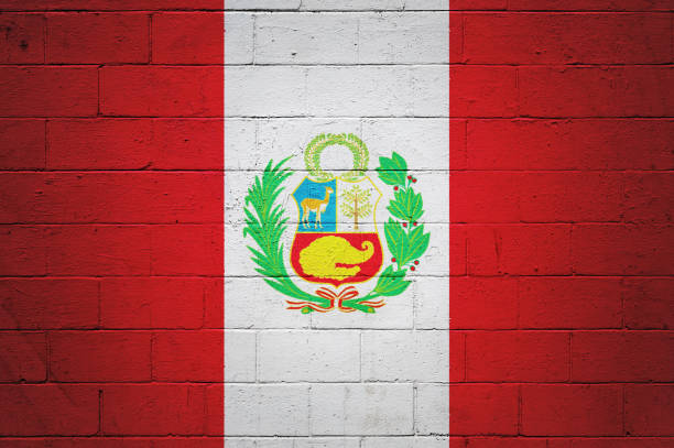 Peruvian flag painted on a wall stock photo