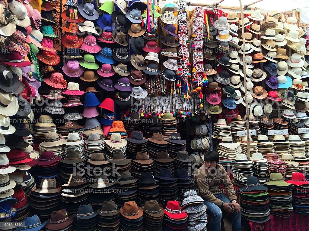 Peruvian Hat Shop stock photo