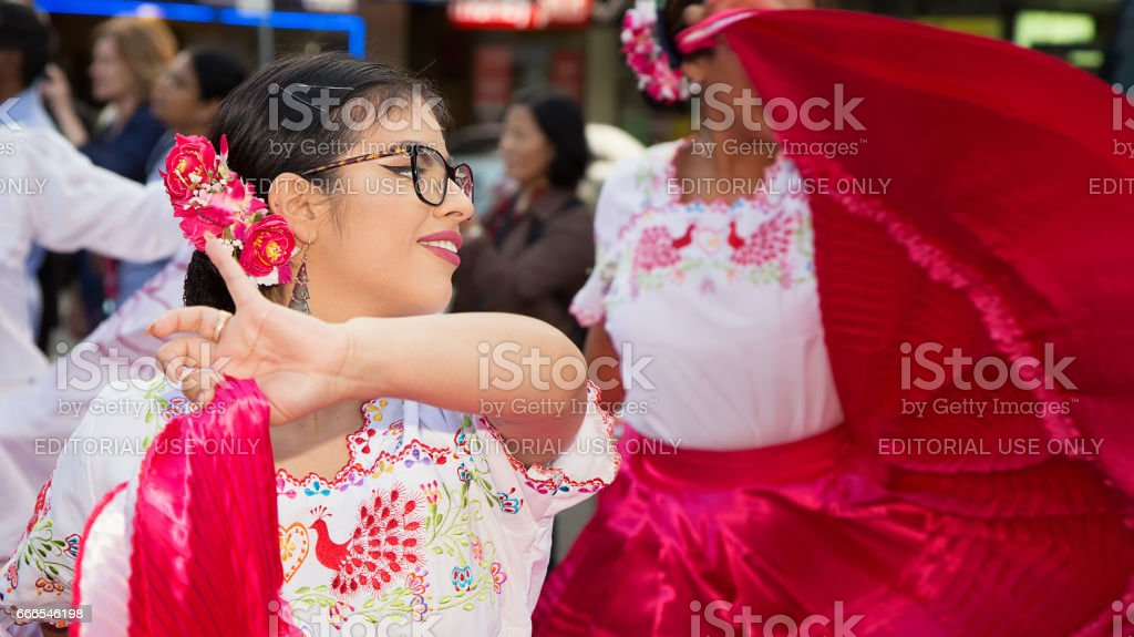 Peruvian ladies performing in the opening parade for Parramasala stock photo