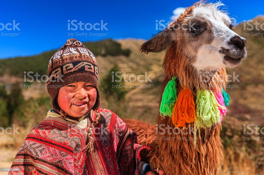 Peruvian little boy wearing national clothing with llama near Cuzco stock photo