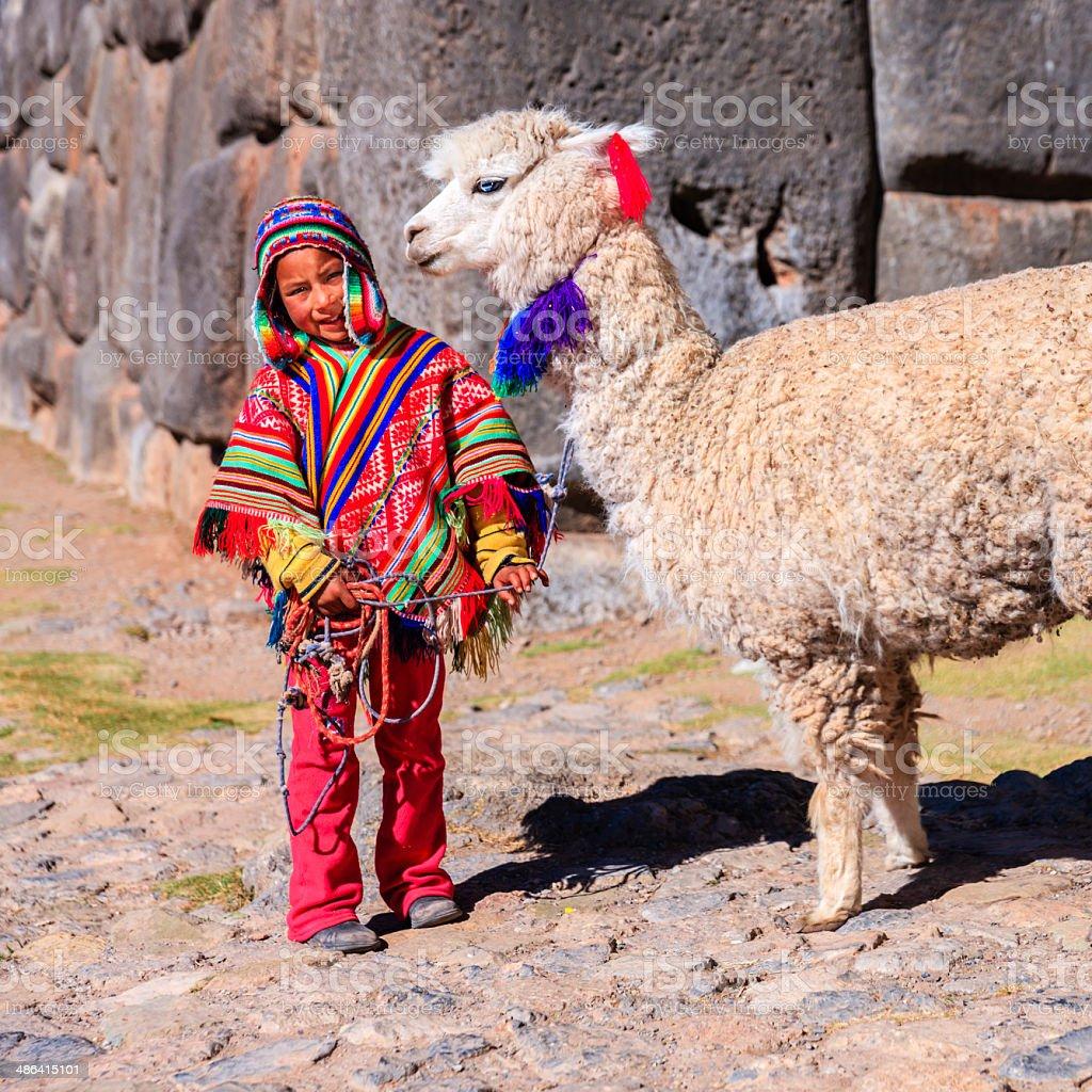 Peruvian Little Boy Wearing National Clothing With Llama ...