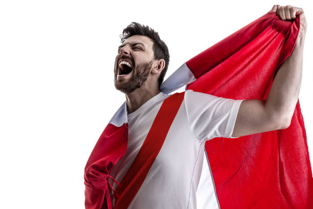 peruvian male athlete / fan celebrating on white background - peruvian ethnicity stock pictures, royalty-free photos & images