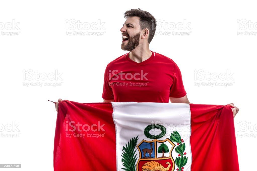 Peruvian male athlete / fan celebrating on white background stock photo