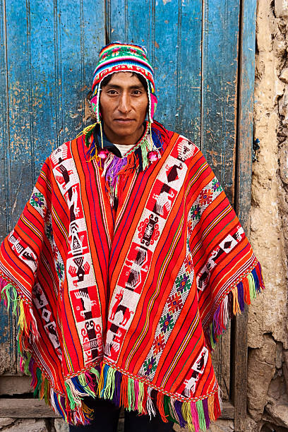 peruvian man wearing national clothing, the sacred valley, cuzco - peruvian ethnicity stock pictures, royalty-free photos & images